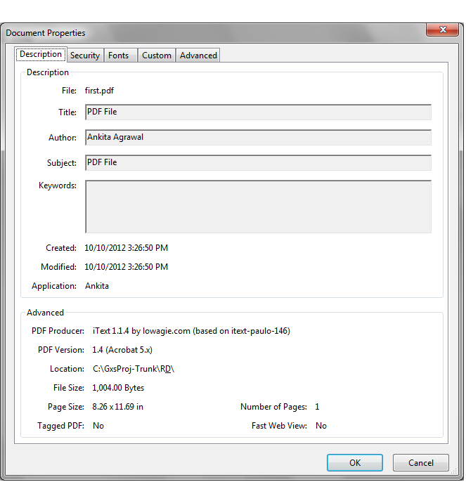 Setting PDF content properties using iText - J2EE Reference